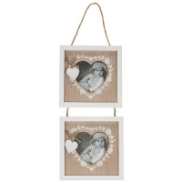 Shabby Chic Provence Heart Double Hanging Photo Frame